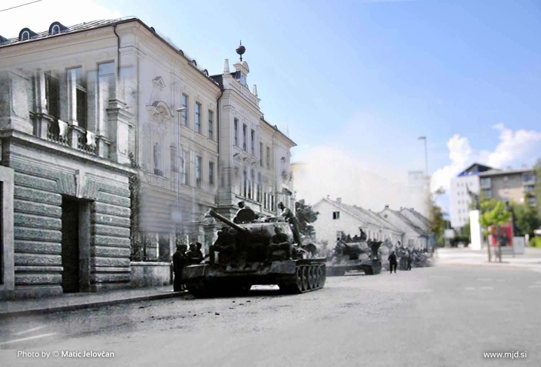 Tanki pred Gimnazijo Kranj in Majdičevo vilo na Koroški cesti