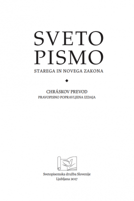 """Front Page 268x402 - """"New"""" Chráska Bible in Slovene"""