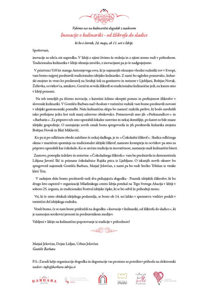 """Pismo v2.2 677x959 - Culinary Innovation: """"Chocolate žlikrofi"""""""